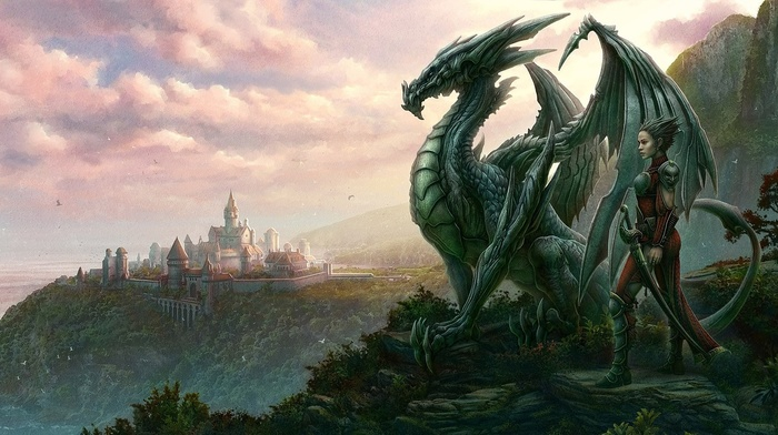 fantasy, city, men, dragon, sight