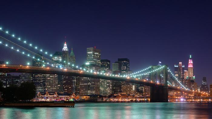 New York City, night, lights, USA, cities, city, skyscrapers