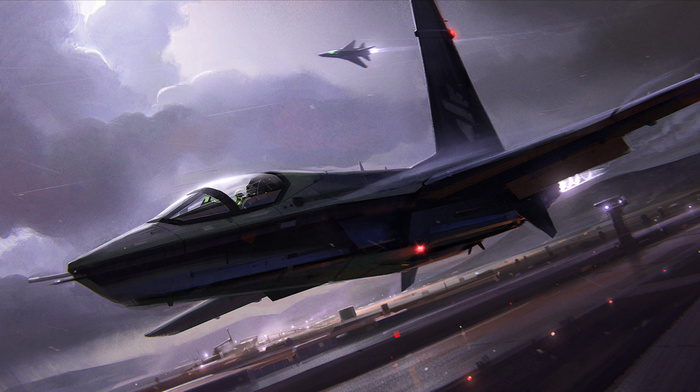 airplane, lights, aircraft, jet fighter, night, clouds