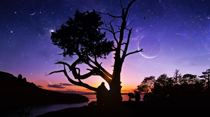 tree, planets, river, people, sunset, nature, stars