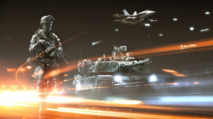 airplane, soldier, video games, tank