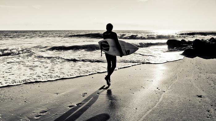 surfing, board, shadow, silhouette, sports