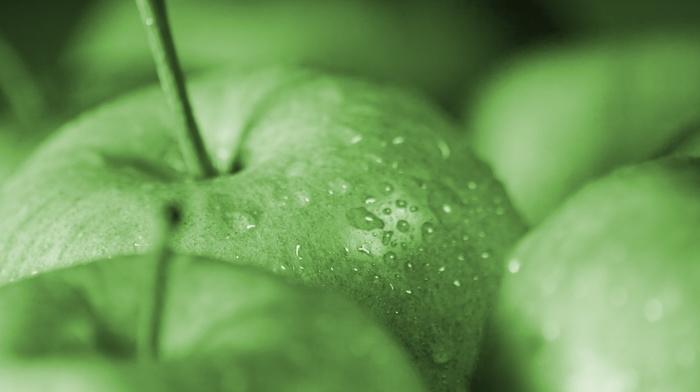 macro, fruit, delicious, apples, drops, food
