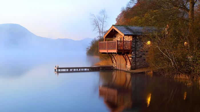 autumn, berth, mist, nature, lake, dawn