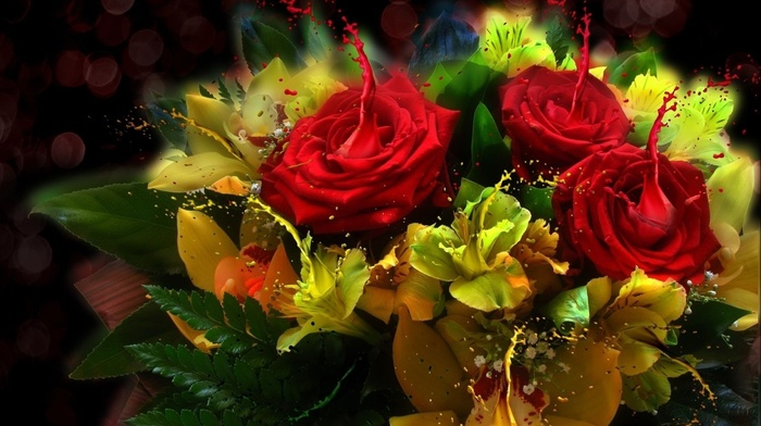style, light, bouquet, paints, roses, flowers