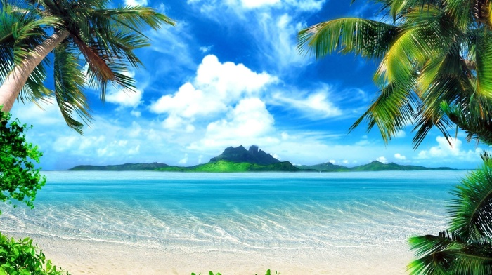 water, nature, beach, sand, palm trees, greenery, sea, rest, Sun, mountain, sky, ocean
