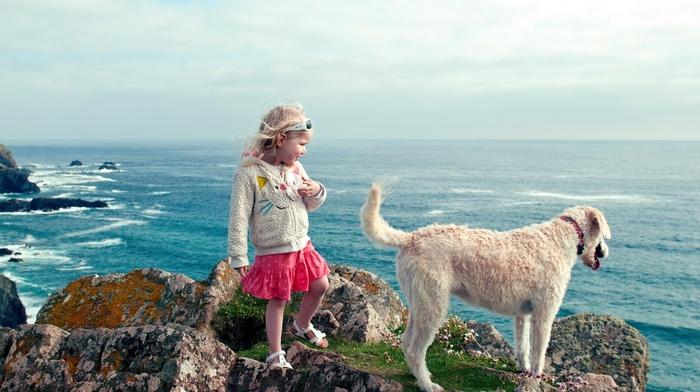 children, girlie, dog