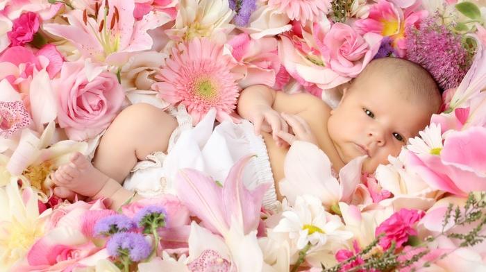 children, kid, flowers
