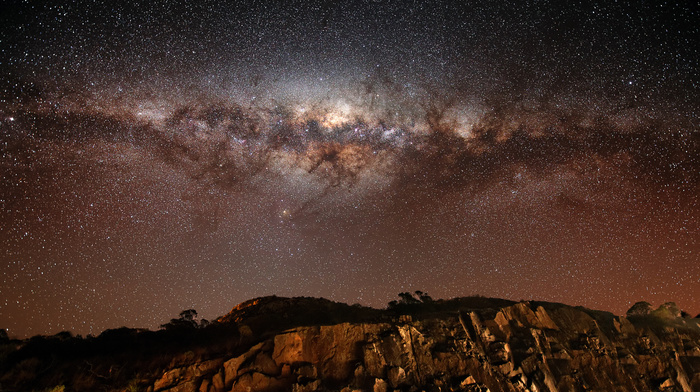 galaxy, stars, rocks, Milky Way, nature
