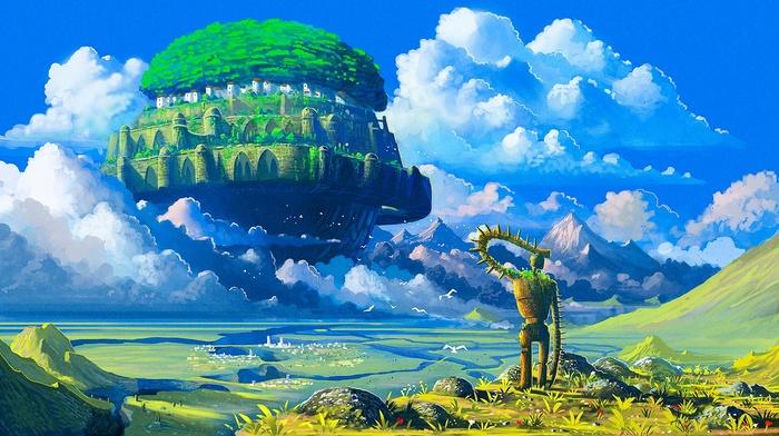 anime, Castle in the Sky, robot, Studio Ghibli, floating island