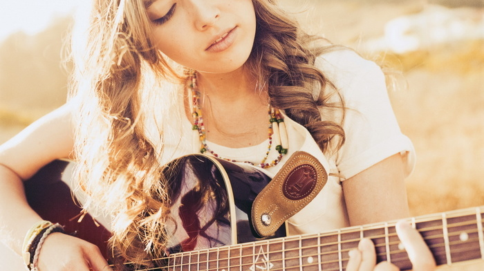 guitar, girl, music