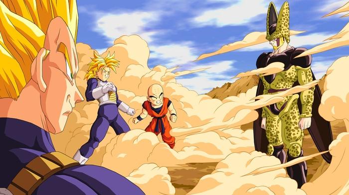 Trunks character, anime, Dragon Ball, Krillin, Super Saiyan, Vegeta, Cell character, Perfect Cell