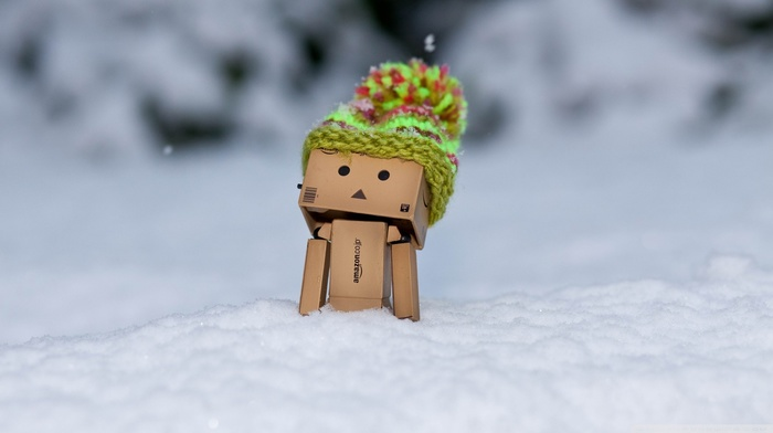 snow, woolly hat, Danbo