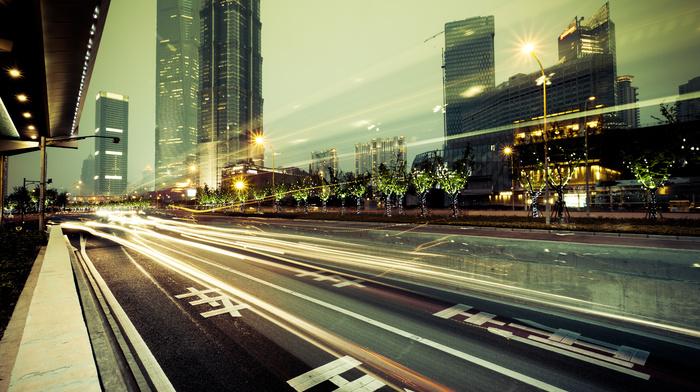 skyscrapers, lights, road, city, cities