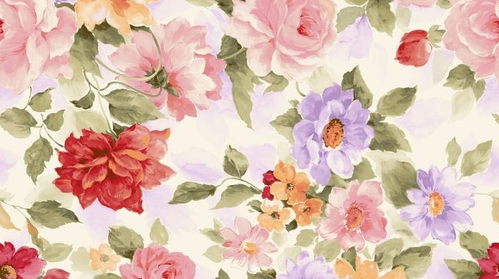 flowers, background, paints