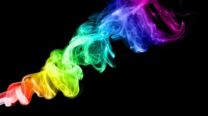 3D, colors, rainbow, smoke