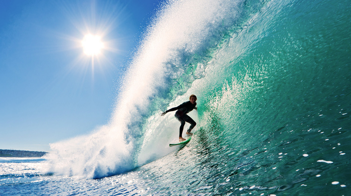 surfing, sports, Sun, sky, wave