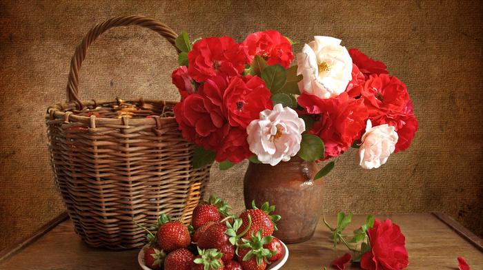 still life, roses, strawberry, vase, flowers