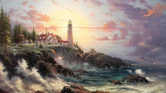 lodge, coast, lighthouse, waves, nature