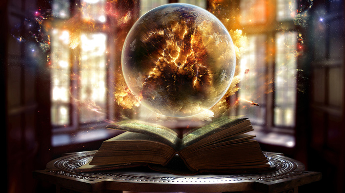 light, sphere, magic, ball, fantasy, fire, book