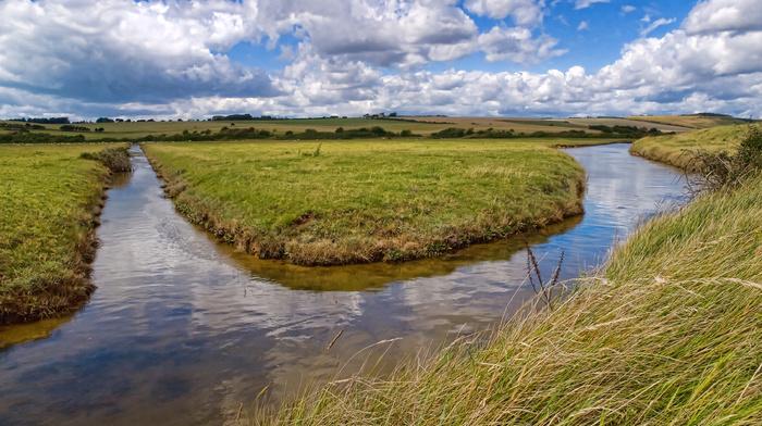трава, река, природа, канал, облака, вода