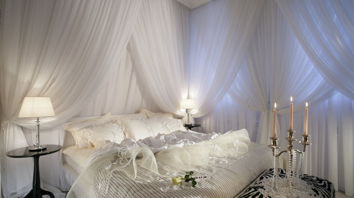 white, bed, candles, design