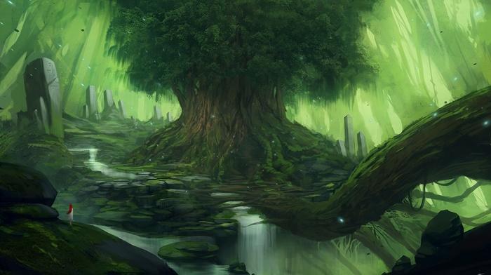 art, fantasy, landscape, waterfall, girl, tree