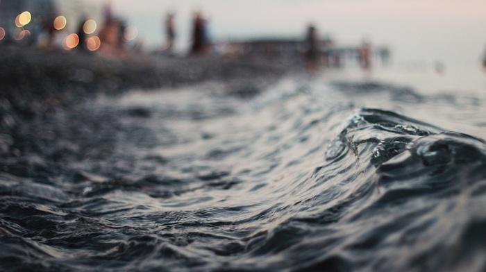 bokeh, lights, horizon, macro, water, waves, evening