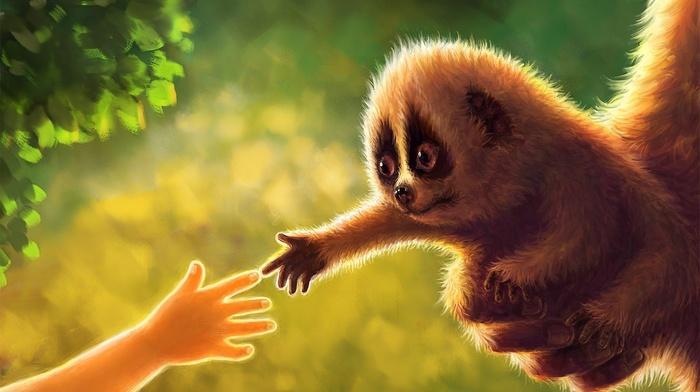 animals, art, greenery, kid, hand