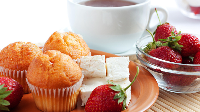drink, strawberry, cup, tea, plate, delicious, berries