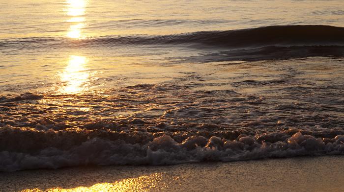 прибой, закат, море, природа