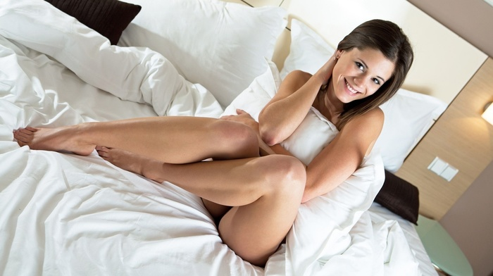 smiling, sight, girls, in bed