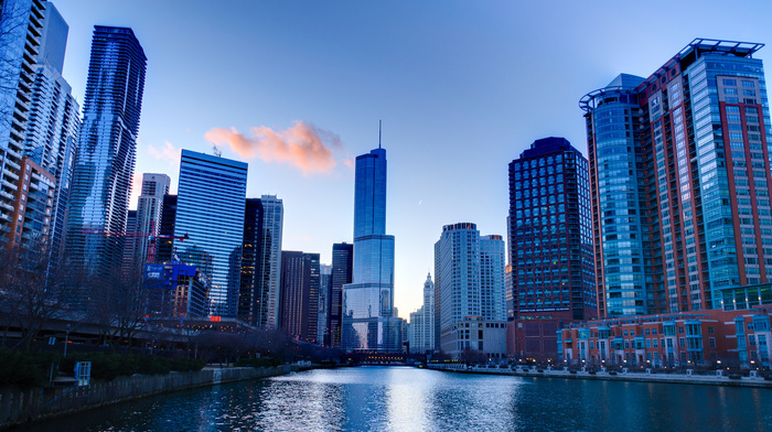 sky, America, cities, skyscrapers, Chicago, high-rise buildings, USA