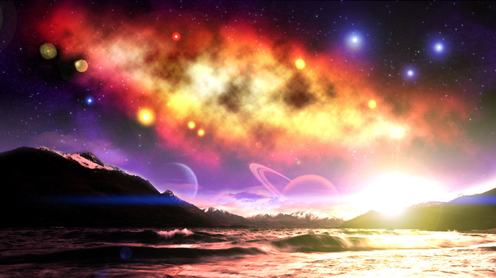 fantasy, stars, space, planets, mountain, sky