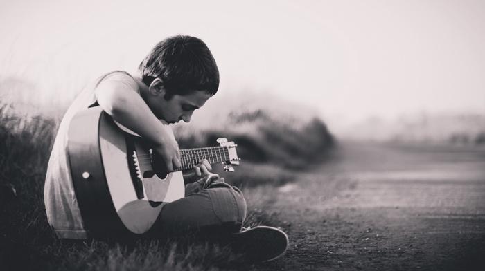 boy, guitar, music
