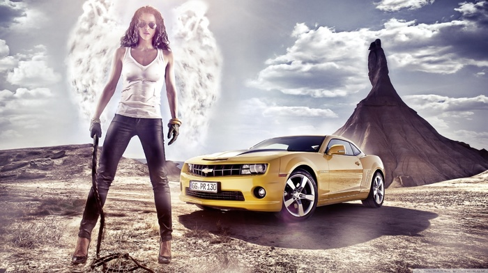 tank top, girl, color, cars, yellow, brunette, jeans, glasses