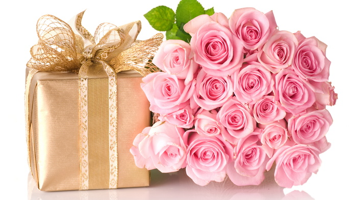 gift, bow, box, flowers, bouquet