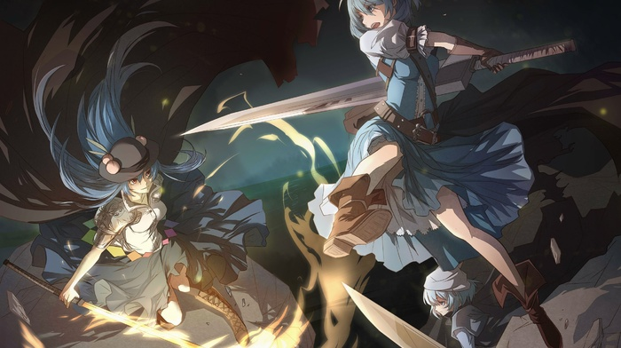 sword, cirno, Letty Whiterock, touhou, anime, Hinanawi Tenshi, blue hair