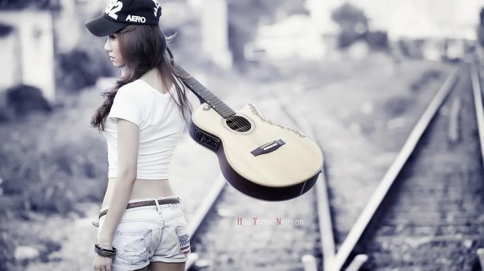 guitar, girl, music