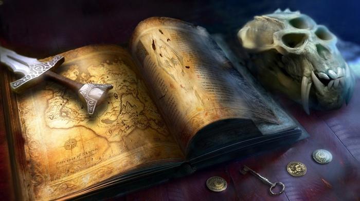 book, sword, map, video games, skull