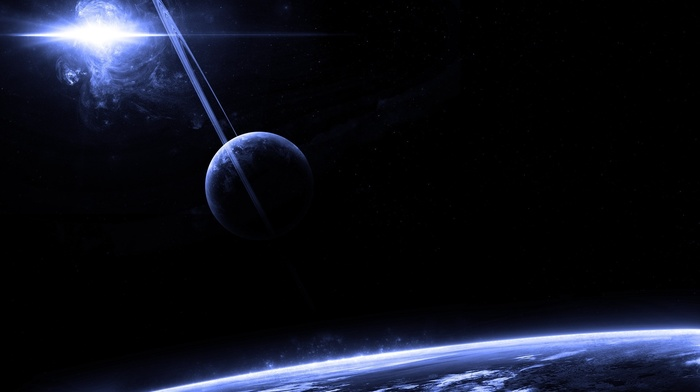 rings, nebula, planets, art, space, stars