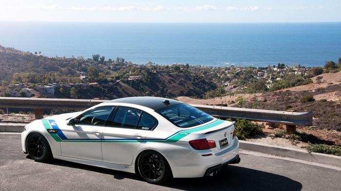 white, rear view, road, bmw, cars, BMW