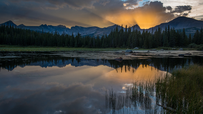 lake, sunset, light, USA, mountain, nature, evening, forest, rays