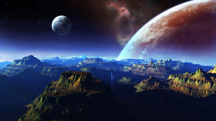 planets, mountain, space