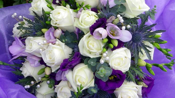 bead, flowers, bouquet, flower, roses, tulips