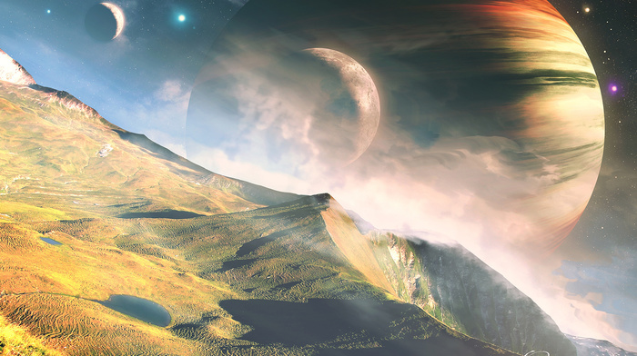 mountain, stars, planets, space, stunner, landscape