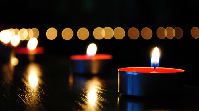 macro, reflection, red, bokeh, fire, candles, highlights