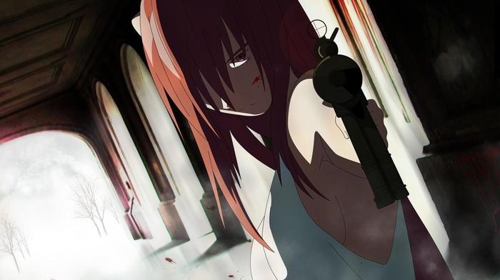 девушки из аниме, оружие, аниме, розовые волосы, красные галаза
