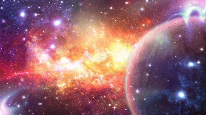 planet, art, nebula, abstraction, stars, space