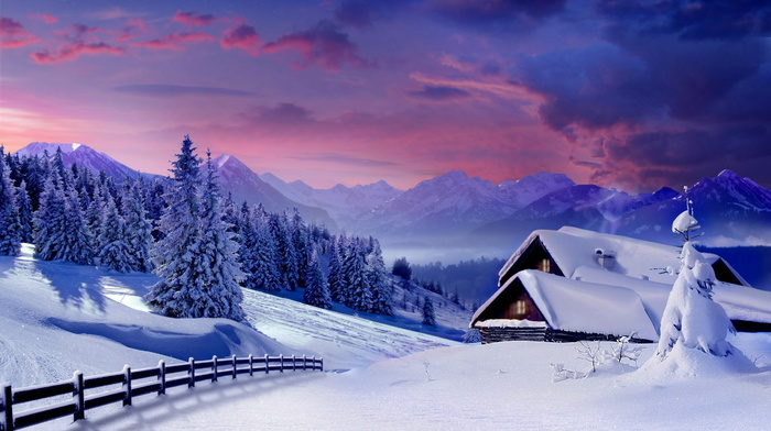 Christmas tree, winter, clouds, mountain, forest, snow, house